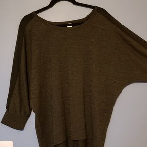 Black dolman sleeve top with sheer panel down arms